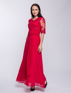 Czerwona sukienka Semper maxi z dekoltem w kształcie litery v