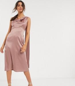 Różowa sukienka Flounce London midi asymetryczna