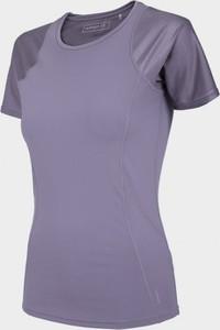 Fioletowy t-shirt Outhorn w sportowym stylu z okrągłym dekoltem