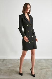 Czarna sukienka Trendyol z długim rękawem mini