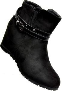 Czarne botki Chc Shoes na koturnie na zamek w stylu casual