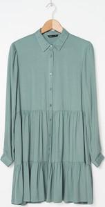 Zielona sukienka House mini z długim rękawem
