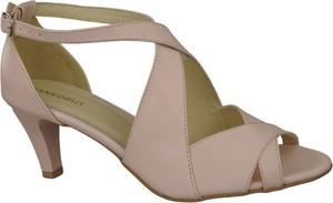 Różowe sandały Jankobut na średnim obcasie ze skóry w stylu klasycznym