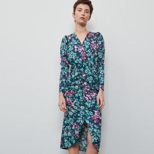 Niebieska sukienka Reserved z dekoltem w kształcie litery v midi z długim rękawem