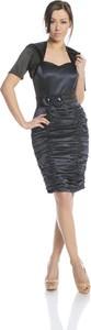 Sukienka Fokus z krótkim rękawem dopasowana z satyny