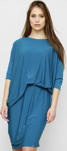 Niebieska sukienka Freeshion z długim rękawem w stylu casual oversize