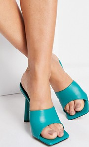 Turkusowe klapki Simmi Shoes w stylu casual z płaską podeszwą