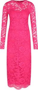 Różowa sukienka Elisabetta Franchi z długim rękawem