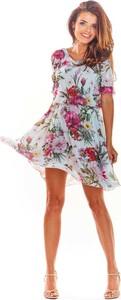 Sukienka Awama mini z okrągłym dekoltem rozkloszowana