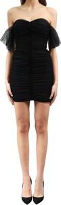 Czarna sukienka Elisabetta Franchi dopasowana mini z krótkim rękawem