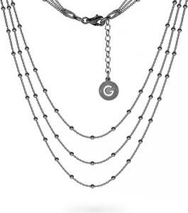 GIORRE POTRÓJNY NASZYJNIK ŁAŃCUSZEK CHOKER BAZA DO CHARMSÓW SREBRO 925 : Długość (cm) - 38 + 42 + 45 + 5, Kolor pokrycia srebra - Pokrycie Czarnym Rodem