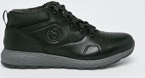 Czarne buty zimowe Bugatti sznurowane ze skóry