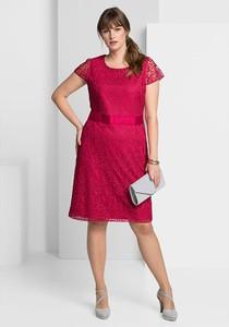 Czerwona sukienka Sheego z okrągłym dekoltem dla puszystych mini