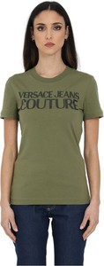 Zielony t-shirt Versace Jeans w młodzieżowym stylu z okrągłym dekoltem