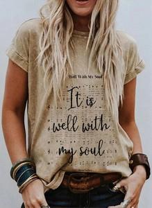 T-shirt Sandbella z okrągłym dekoltem