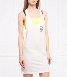 Sukienka Calvin Klein na ramiączkach mini z okrągłym dekoltem
