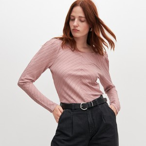 Różowa bluzka Reserved w stylu casual z okrągłym dekoltem z długim rękawem