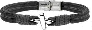Manoki BA754B sznurkowa bransoletka czarna z symbolem X