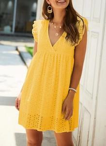 Żółta sukienka Sandbella w stylu casual mini