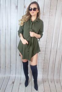 Zielona sukienka hitdnia.com.pl mini koszulowa w stylu casual