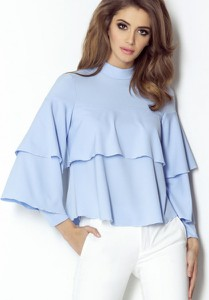 Niebieska bluzka Ivon z tkaniny z długim rękawem