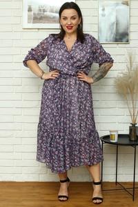 Sukienka KARKO midi z szyfonu z długim rękawem