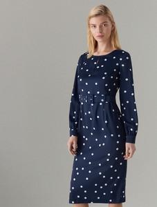 Niebieska sukienka Mohito dopasowana midi z długim rękawem