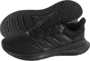 Czarne buty sportowe Adidas na koturnie sznurowane