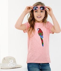 Różowa koszulka dziecięca Tchibo z bawełny z krótkim rękawem