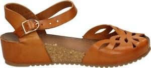 Pomarańczowe sandały Darbut na koturnie