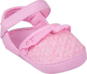 Różowe sandały Yoclub na rzepy z bawełny