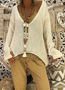 Sweter Cikelly w stylu boho z dzianiny