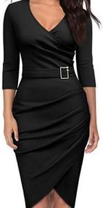 Czarna sukienka Cikelly ołówkowa z dekoltem w kształcie litery v z długim rękawem