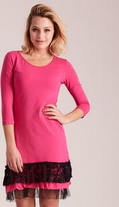 Różowa sukienka Sheandher.pl z długim rękawem z bawełny mini