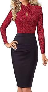 Czarna sukienka Arilook z długim rękawem midi ołówkowa