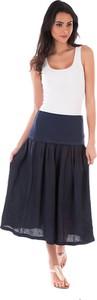 Czarna spódnica Lin Passion midi z lnu