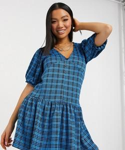 Niebieska sukienka Asos mini w stylu casual