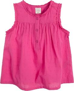 Różowa bluzka dziecięca Cool Club w groszki bez rękawów z bawełny