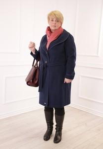 Granatowy płaszcz Fokus z tkaniny