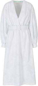 Sukienka Off White z bawełny z dekoltem w kształcie litery v z długim rękawem