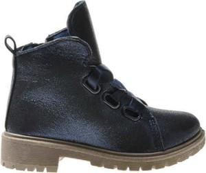 Granatowe buty dziecięce zimowe Pantofelek24 dla dziewczynek sznurowane