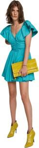 Zielona sukienka ANIYE BY z krótkim rękawem z dekoltem w kształcie litery v mini