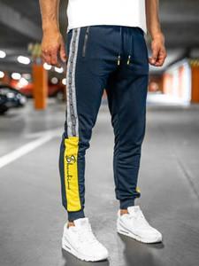 Granatowe spodnie sportowe Denley z nadrukiem z dresówki