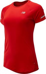 Czerwona bluzka New Balance z krótkim rękawem
