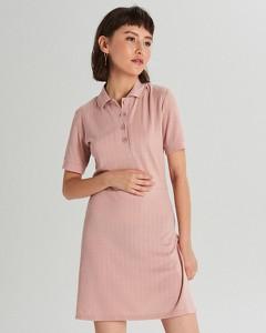 Sukienka Cropp mini z krótkim rękawem z kołnierzykiem