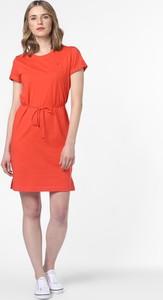 Czerwona sukienka Tommy Hilfiger z krótkim rękawem z okrągłym dekoltem w stylu casual