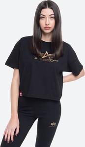 Czarny t-shirt Alpha Industries z okrągłym dekoltem