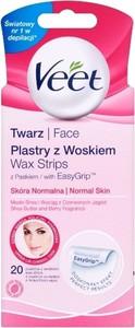 Veet, Easy-Gelwax, precyzyjne plastry z woskiem do depilacji twarzy, 20 szt.