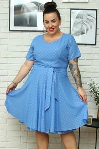 Niebieska sukienka KARKO mini w stylu casual z krótkim rękawem