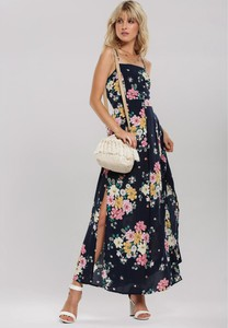 Sukienka Renee w stylu boho maxi z dekoltem w karo